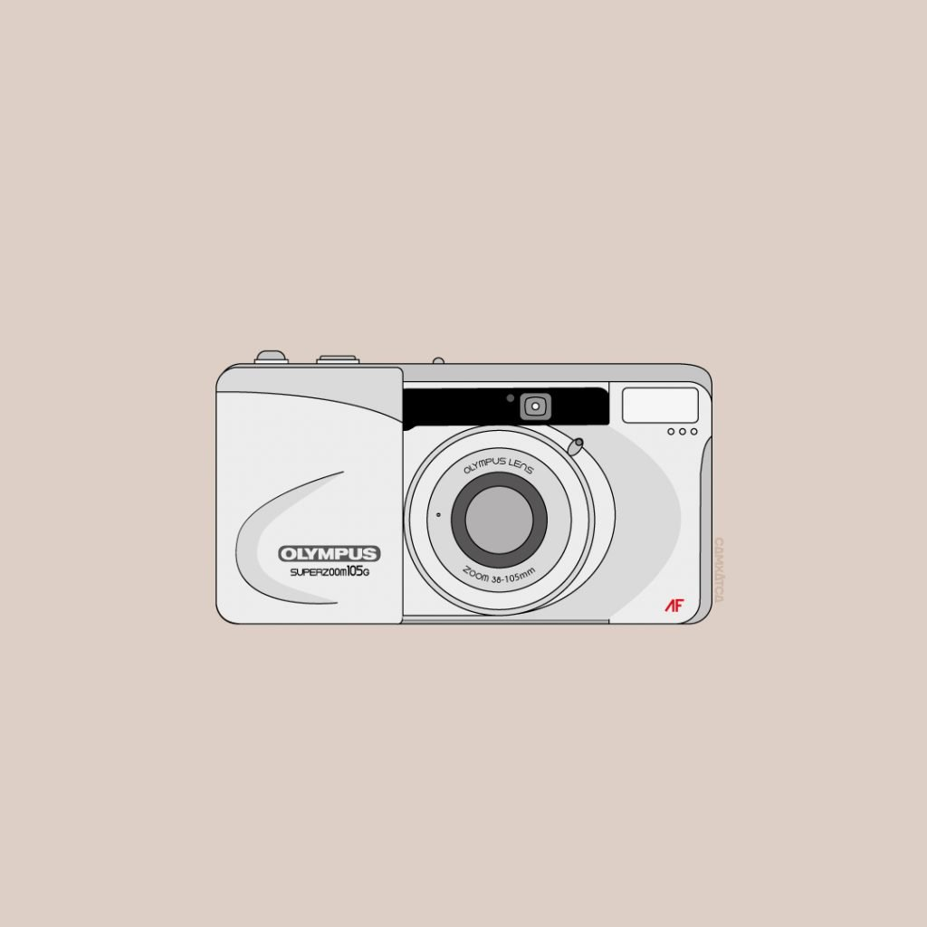 Olympus SUPERZOOM 105G film Point and shoot Camera illustration