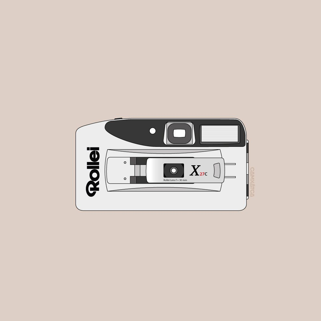 Illustration of point and shoot camera Rollei x27C